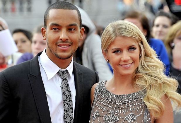 Theo Walcott and Melanie Slade attend Harry Potter And The Deathly Hallows: Part 2 - world film premiere held on Trafalgar Square 07.07.11