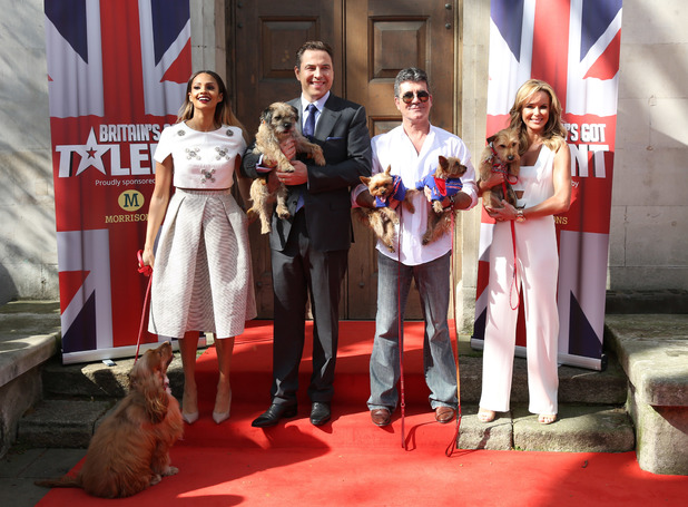Alesha Dixon, Amanda Holden, David Walliams, Simon Cowell - Britain's Got Talent - press launch held at St Luke's Church - Arrivals 9 April 2014.
