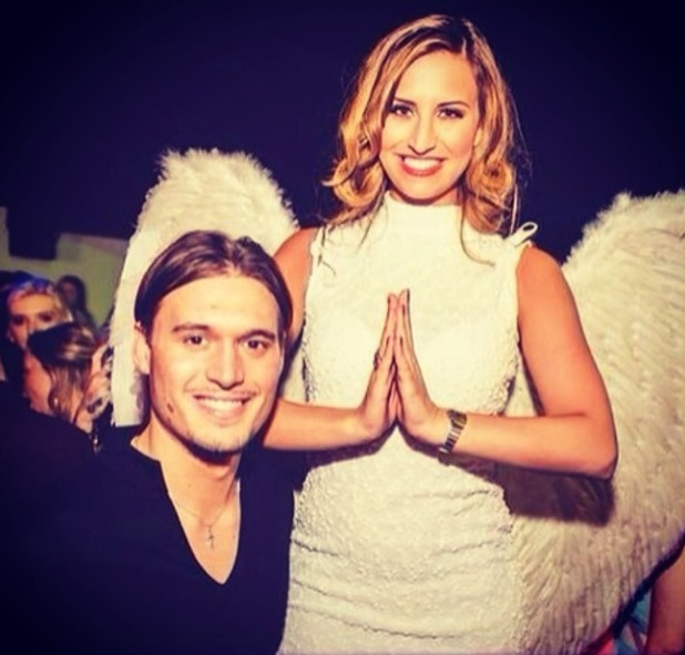 Ferne McCann dresses as an angel and poses with Charlie Sims - 4 April 2014