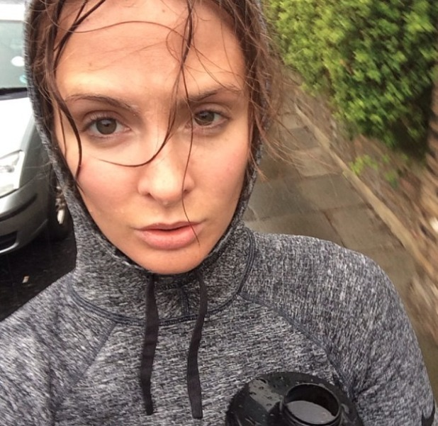 Millie Mackintosh posts rather soggy selfie after running in the rain, 7 April 2014