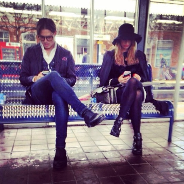 Ferne McCann sits at train station with Charlie Sims - 8 April 2014