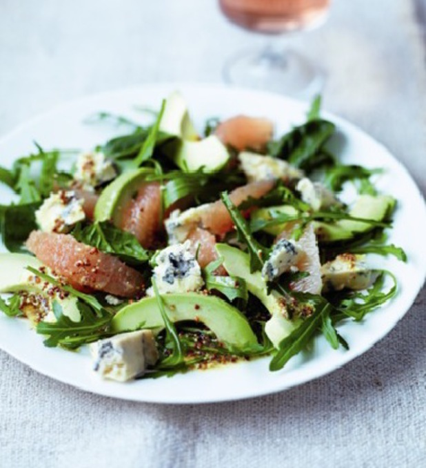 Stilton and pink grapefruit salad