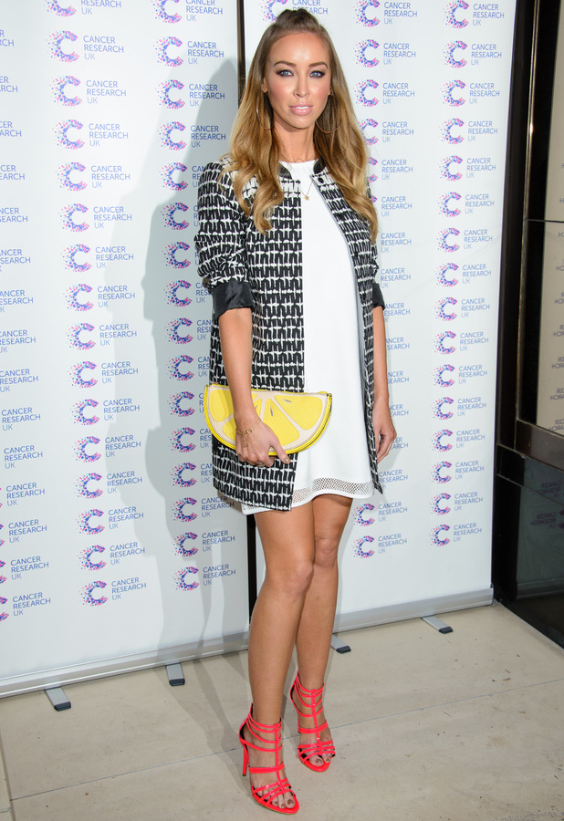 Lauren Pope attends the Jog On To Cancer charity fundraiser event in London, England - 9 April 2014