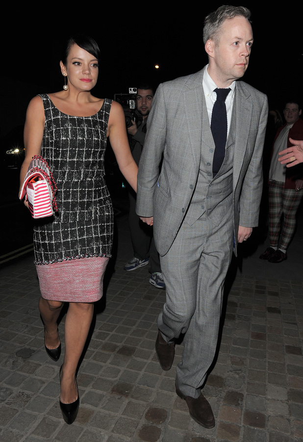 Lily Allen and Sam Cooper join other celebrities leaving a private party at an address in Marylebone