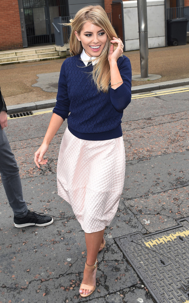 Mollie King steps out at the ITV studios in London, England - 7 April 2014