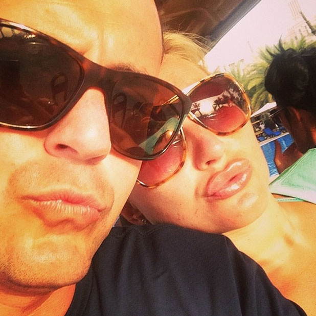 Billie Faiers and Greg Shepherd take a selfie while in Dubai, 10 April 2014