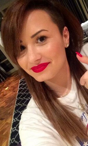 Demi Lovato dyes her pink hair brown while on tour, 9 April 2014