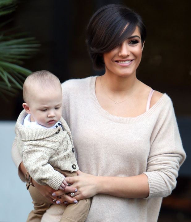 Frankie Sandford outside the ITV studios with baby Parker, 9 April 2014