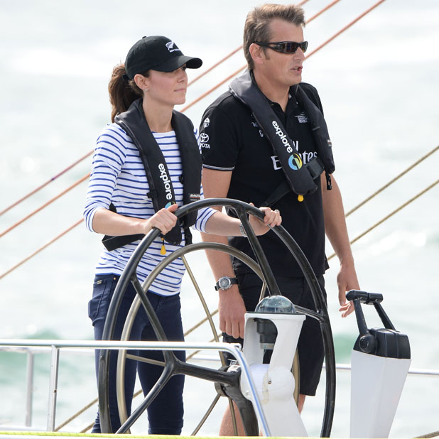 The Duke and Duchess of Cambridge each board an Emirates Team New Zealand Americas Cup yacht and sail around Auckland Harbour, 11 April 2014