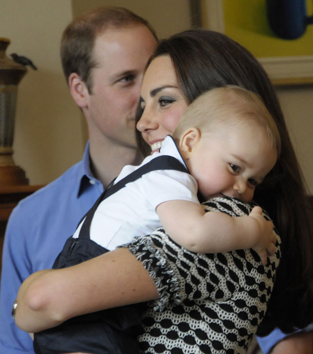Prince William, Duke of Cambridge, Catherine, Duchess of Cambridge and Prince George attend a Plunket Play Group at Government House, Wellington, 9 April 2014