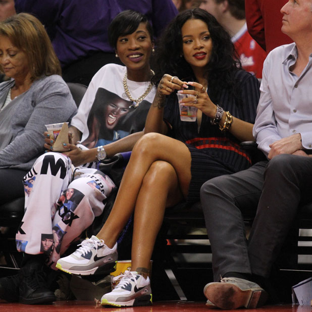 Rihanna attends the LA Clippers game at Staples Centre, LA, 9 April 2014