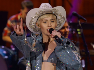 Madonna joins Miley for MTV Unplugged show in Los Angeles on Tuesday night (28 Jan 2014).