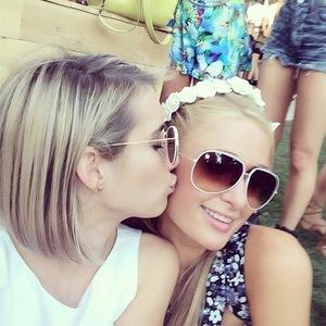 Paris Hilton and Emma Roberts at Coachella music festival in California, America - 15 April 2014