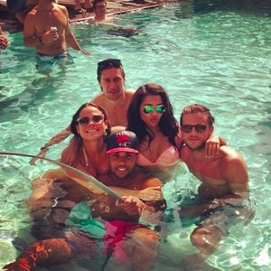 The Saturdays' Vanessa White on holiday with boyfriend Gary Salter and pals, 19 April 2014