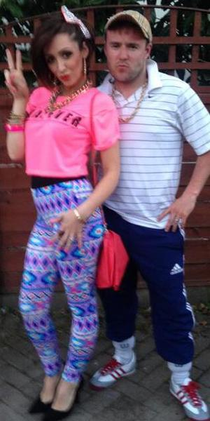Corrie stars Alan Halsall and Lucy-Jo Hudson dress up as chavs for Michelle Keegan's fancy dress leaving party, 18 April 2014