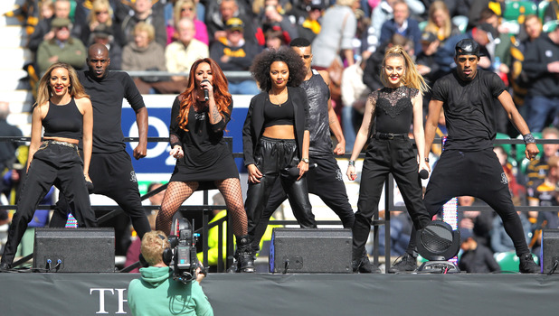 Little Mix performing at Wasps v Gloucester, Rugby Union Aviva Premiership, Twickenham, London - 19 Apr 2014