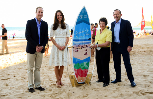 Catherine, Duchess of Cambridge, and Prince William, Duke of Cambridge, visit Manly Beach on Sydney's north shore, during their royal tour of Australia - 17 April 2014