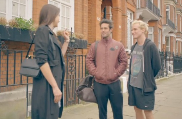 Made In Chelsea's Spencer Matthews and Jamie Laing bump into Emma Miller. Aired 14 April 2014.