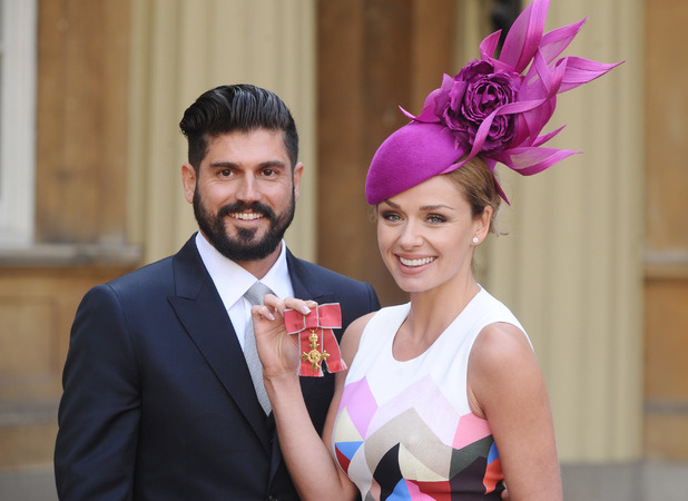 Andrew Levitas supports girlfriend Katherine Jenkins as she picks up OBE at Buckingham Palace, 14 Mar 2014
