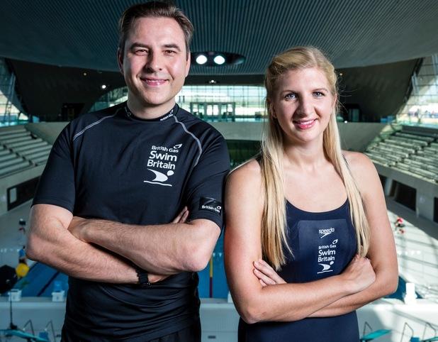 David Walliams and Rebecca Adlington swimming