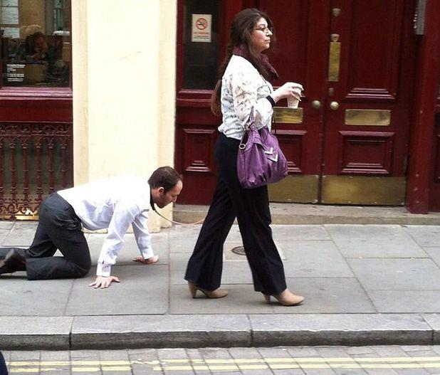 Man on leash, Farringdon