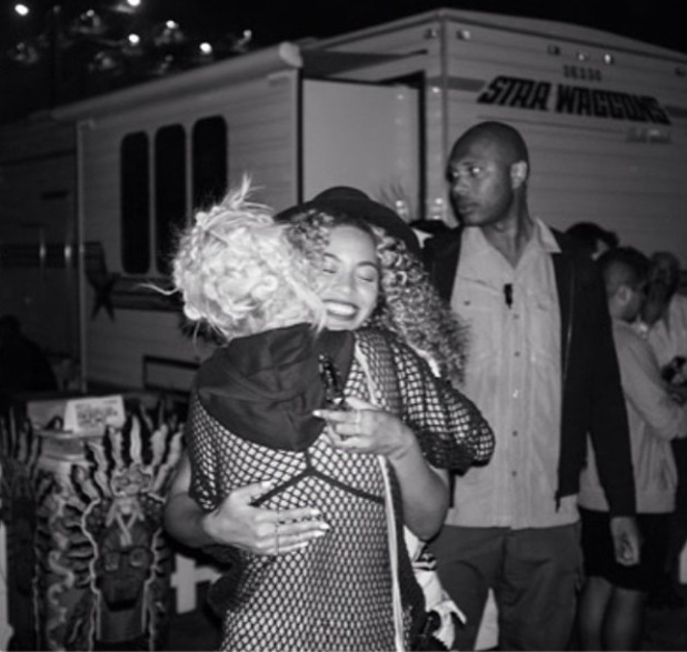 Rita Ora hugs Beyonce at the Coachella music festival (15 April).