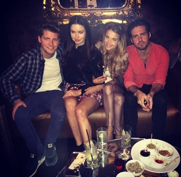 New Made In Chelsea star Emma Miller parties with co-stars Sophie Hermann, Stevie Johnson and Spencer Matthews (16 April).