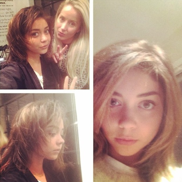 Modern Family star Sarah Hyland posts an Instagram picture after getting her hair extensions taken out - 3 April 2014