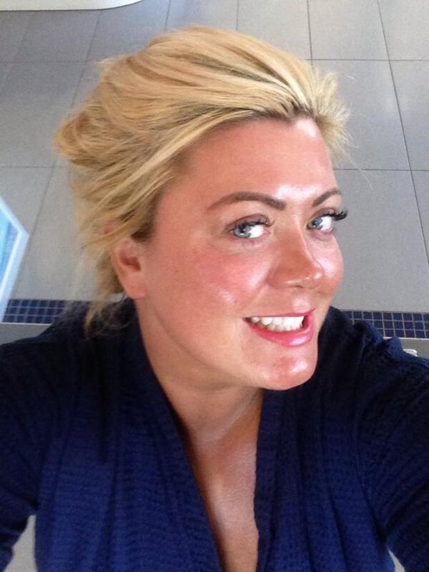 Gemma Collins looks gorgeous with no make-up on, after a fake tan treatment and lash extensions at Tahiti Beauty Salon, Romford, 16 April 2014