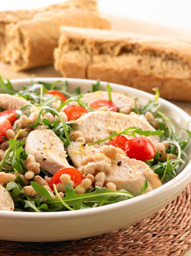 chicken and white bean salad pr shot from canned food uk