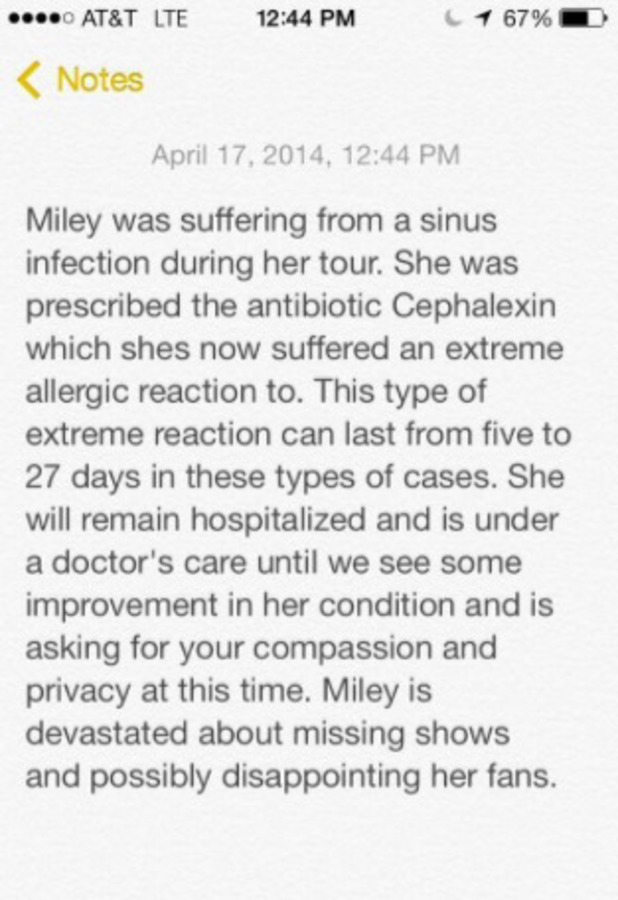 Miley Cyrus posts official statement after being hospitalised for a severe allergic reaction, 17 April 2014