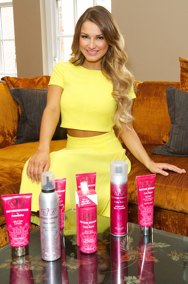 Sam Faiers poses as the new brand ambassador for Beyond Bronze by Fake Bake - April 2014
