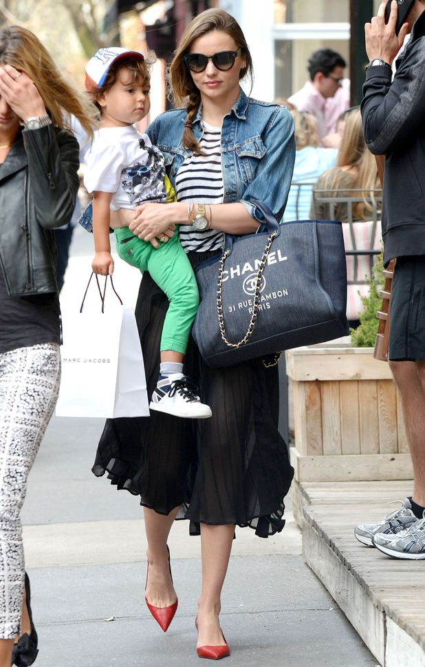 Miranda Kerr goes for lunch with her son Flynn in New York, America - 14 April 2014