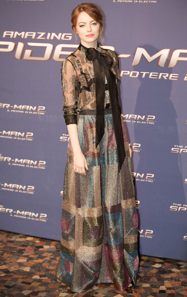Emma Stone steps out at the premiere of The Amazing Spider-Man 2 in Rome, Italy - 14 April 2014