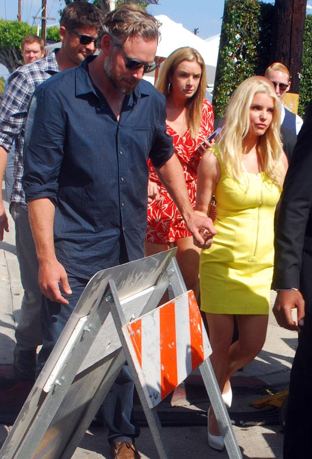Jessica Simpson and Eric Johnson leaving John Varvatos Stuart House Benefit 2014, LA, 13 April 2014