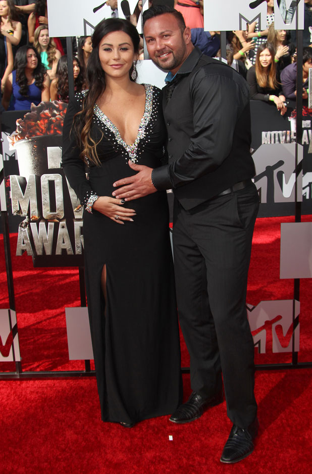JWoww and fiance Roger Mathews, 2014 MTV Movie Awards, Arrivals, Los Angeles, America - 13 Apr 2014