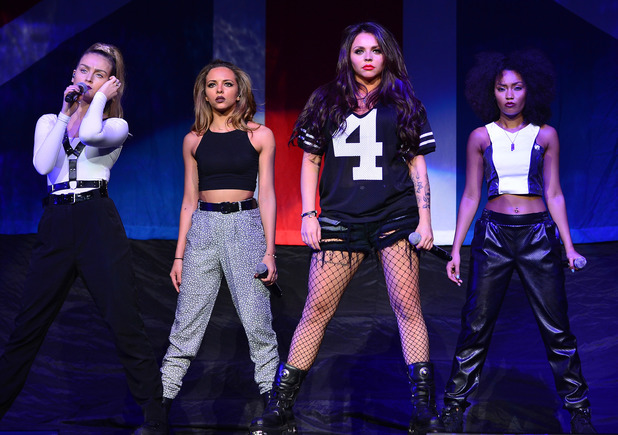 Perrie Edwards, Jade Thirlwall, Jesy Nelson, Leigh-Anne Pinnock of Little Mix performing live in concert at BB and T Center in Sunshine. 02/25/2014 Sunrise, United States