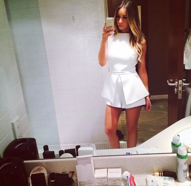 Lauren Pope posts a bathroom selfie before her DJ set in Glasgow, beauty products on the shelf, 21 April 2014