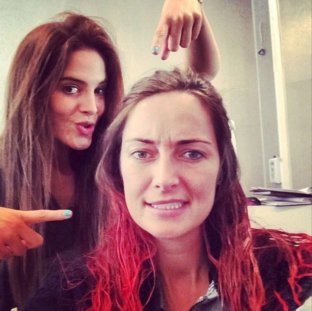 Made In Chelsea's Binky Felstead dyes Fran Newman-Young's hair red - Fulham, London - 23 April 2014