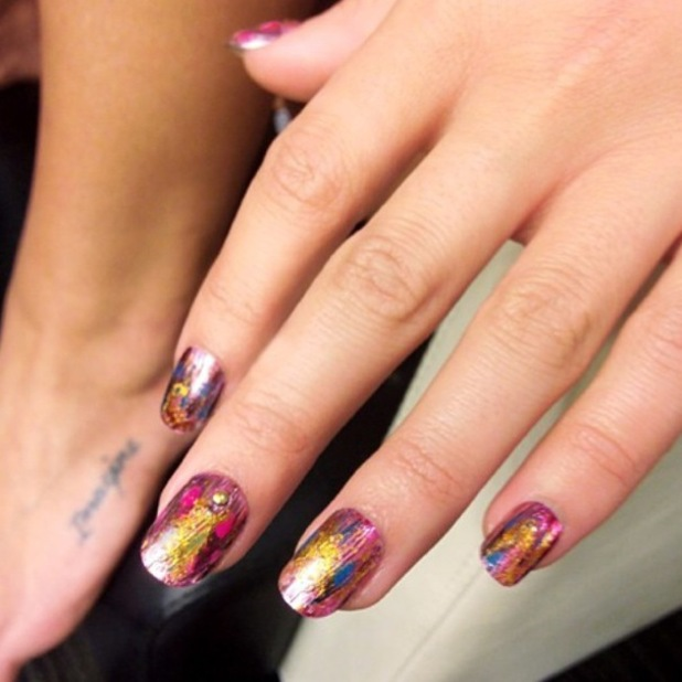 Lea Michele shows off her feather foil manicure while filming her new music video for 'On My Way' - 20 April 2014