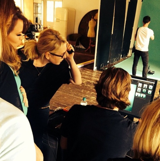 Kimberley Walsh cradles her baby bump during a Very shoot - 23 April 2014