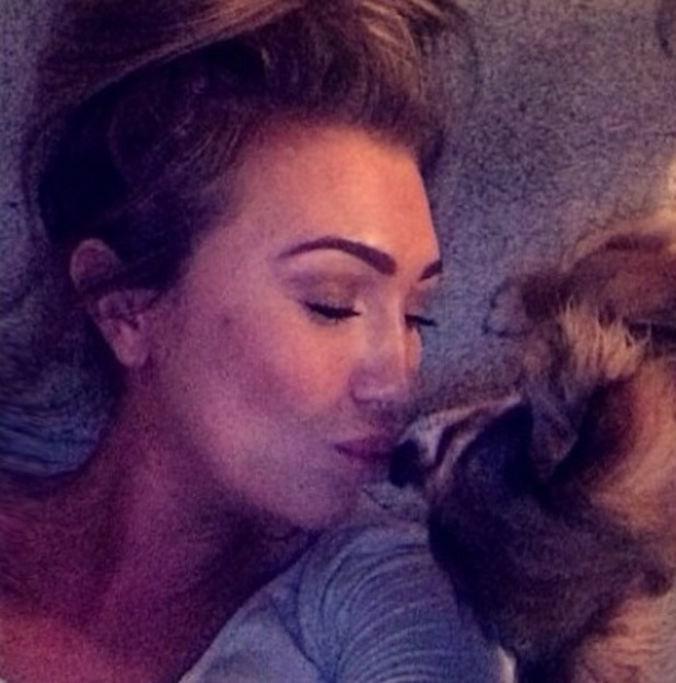 Lauren Goodger relaxes at home with her pet dog Mimi - 22 April 2014
