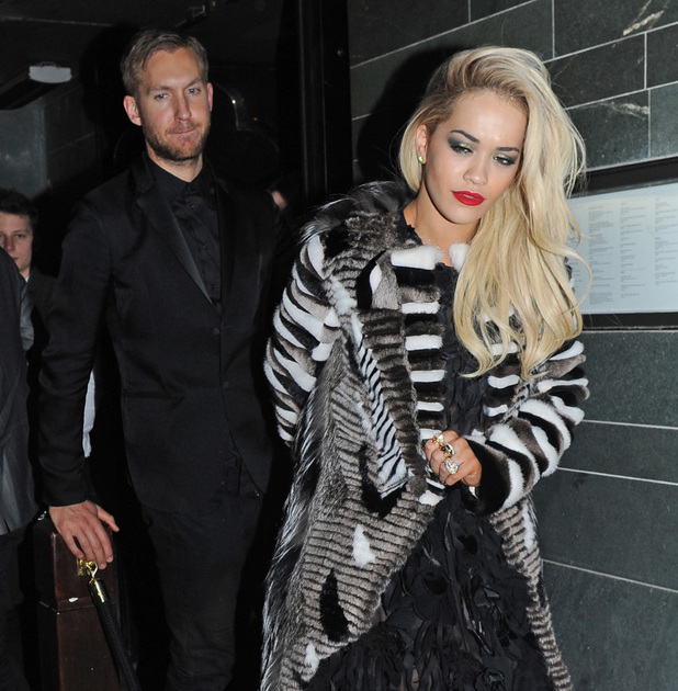 Rita Ora, Calvin Harris - The BRIT Awards - Celebrities leaving the Universal Music and Roc Nation after parties 20 Feb 2014.