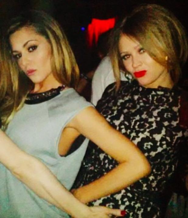 Cheryl Cole, Nicola Roberts and Kimberley Walsh help friend Beth celebrate her birthday, 26 April 2014