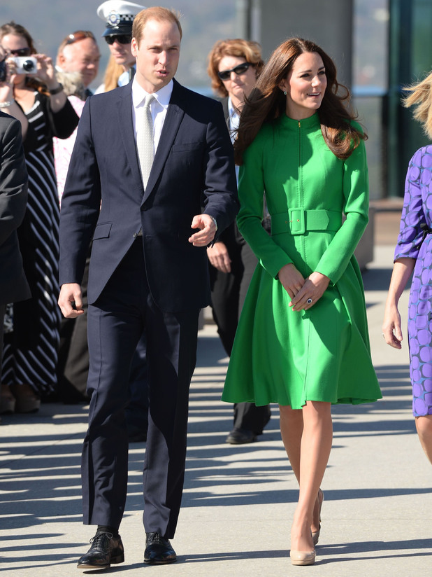 Prince William and Catherine Duchess of Cambridge visit Canberra, Australia. Kate wears a green coat dress - 24 Apr 2014