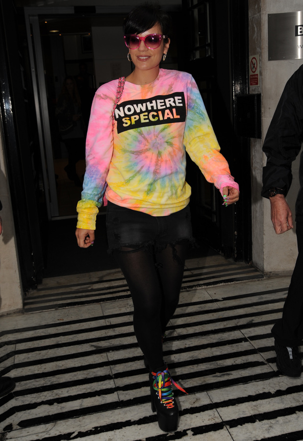 Lily Allen leaves the Radio 1 studios in London, England - 25 April 2014