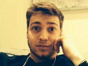 Made In Chelsea's Sam Thompson poses for selfie (6 January 2014).