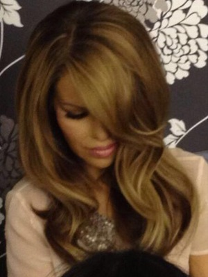 Katie Piper shows off new brunette hair colour by hairdresser Mikey Kardashian - 27 April 2014
