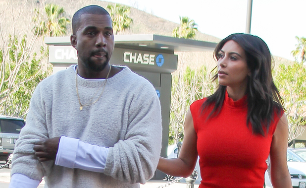 Kanye West takes fiancee Kim Kardashian to see the new movie 'Need For Speed' in Calabasas