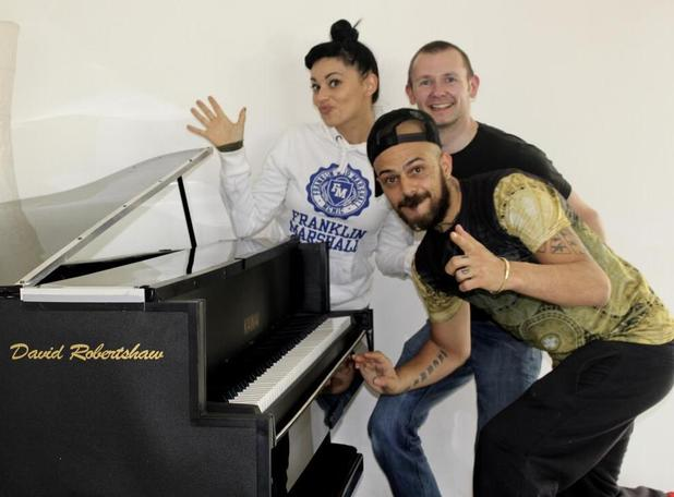 5ive's Abz Love and Vicky Fallon enjoy a piano concert at home - 29 April 2014